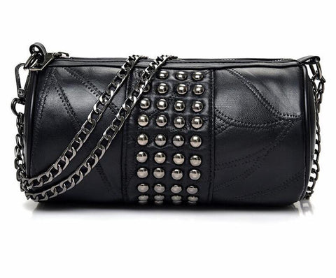 Chain shoulder bag for women small handbag purse with rivets female crossbody bags mini clutch Black messenger bags - Bad Ass Shoes