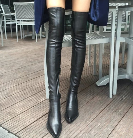Black, Pointed Toe Thigh High Boots - Bad Ass Shoes