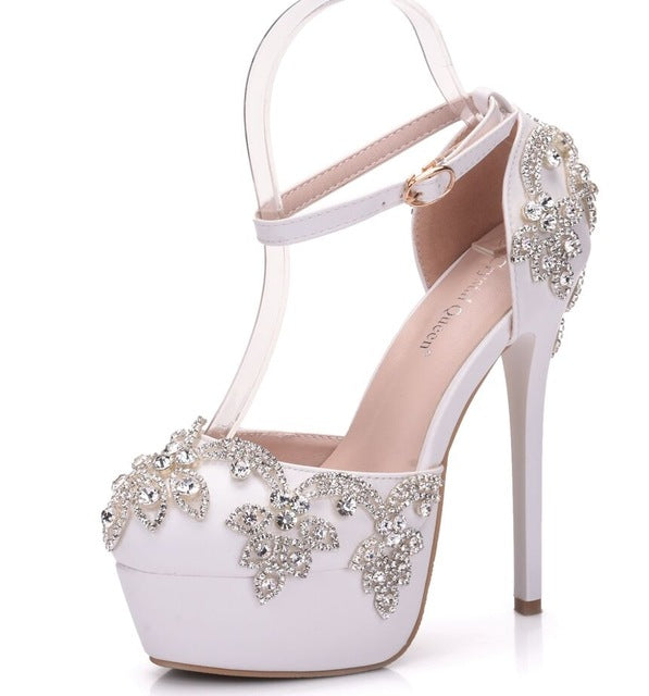 ... Crystal Queen Summer Sandals White Round Toe Bridal Wedding Women Shoes  Crystal High Heel Dress Shoes 73b200fd15a0