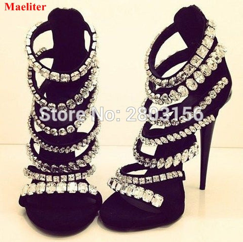 Newest Bling Bling Crystal Gladiator Sandals Rhinestone Sandals Sexy Open Toe High Heels Sandals - Bad Ass Shoes