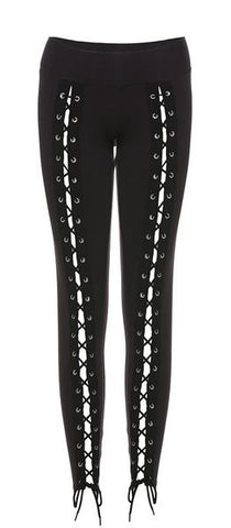 Steampunk, Rocker, Gothic Lace Up Bandage Streetwear Leggings Pants S to XL