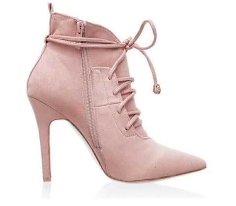 Unique Lace-up Elegant Pointed Toe Fashion Ankle Boots
