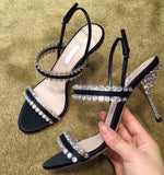 Summer Hot Selling Crystal Embellished Woman Sandal Sexy Open Toe Rhinestones Thin Heels Shoes Patchwork Ankle Strap Sandals