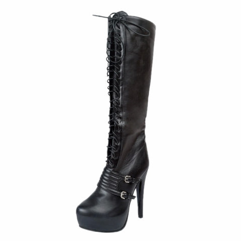 Super Stylish Women Knee High Boots Round Toe High Heels Black Boots Lace Up with Bottom Buckle Embellishment - Bad Ass Shoes