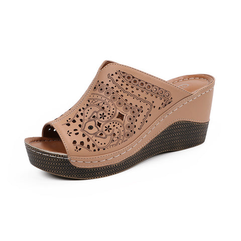 Women's Soft Leather Cut Out Slip On Wedge Mules