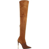 Hot Camel Suede Leather Women Over The Knee Boots - Bad Ass Shoes