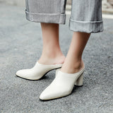 Summer  Cow Leather Women Mules Leather Insole High Heels Pumps Fashion Hot Sale Casual Shoes Woman - Bad Ass Shoes