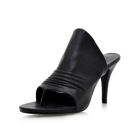 Open Toe Pleated Black Mule Heels - Bad Ass Shoes