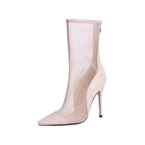 RIBETRINI 2018 High Quality Zip Up Pointed Toe Thin High Heels Woman Summer Boots mid-calf Women Shoes Boots Size 34-39 - Bad Ass Shoes