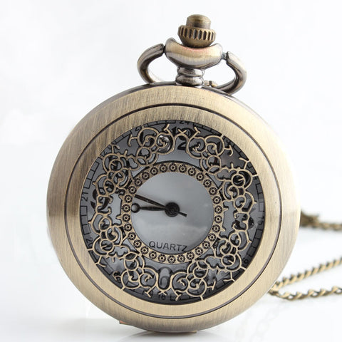Vintage Bronze Hollow Flower Quartz Pocket Watch Steampunk Pendant Necklace Gifts Watch - Bad Ass Shoes