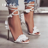 Cross Bandage High Heels Sandals Women Pumps Thin Heel Ruffle Lace-Up Summer Shoes Fashion pompes de femme 014C1101 -4 - Bad Ass Shoes