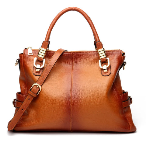 Large European Retro Style 100% Genuine Leather Handbag for Women