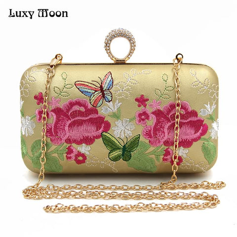 Embroidery Handbags Vintage Clutch Bags National Flower Butterfly Clutch Women's Purse - Bad Ass Shoes