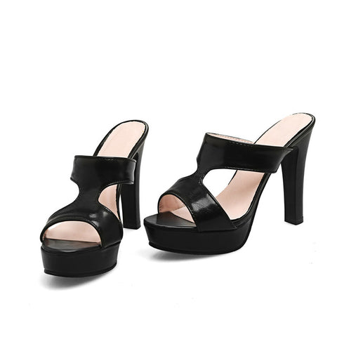 Summer HOT black white fashion summer ladies mules  shoes thick heel platform women high heels sandal - Bad Ass Shoes