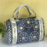 Women'd Denim Vintage Rhinestone Embellished Handbags Satchel/ Shoulder Bag - Bad Ass Shoes