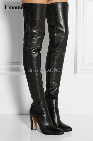 Top Selling Black Leather Over Knee Chunky Heel Boots Slim Style Thigh Long High Heel Boots - Bad Ass Shoes