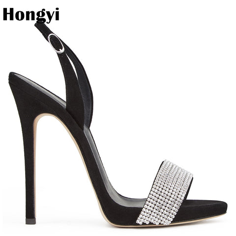 Women's Sexy Crystal Banded Sandals High Heel Summer Sandals - Bad Ass Shoes