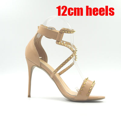 New Fashion Cognac Cross Stap Summers Hottest High Heel Stiletto Sandals.  Made with Genuine Leather and Highlighted with Gold Rivets - Bad Ass Shoes