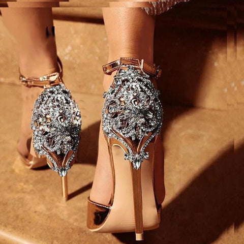 Satin Ornate Metal and Crystal Embellished Stiletto Heel
