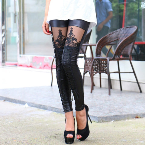 Embroided Lace-Up Leather Sexy Lace Patchwork Pants