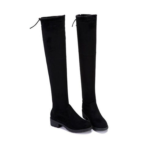 Over The Knee  Winter Stretch Elastic Square Heel Boots