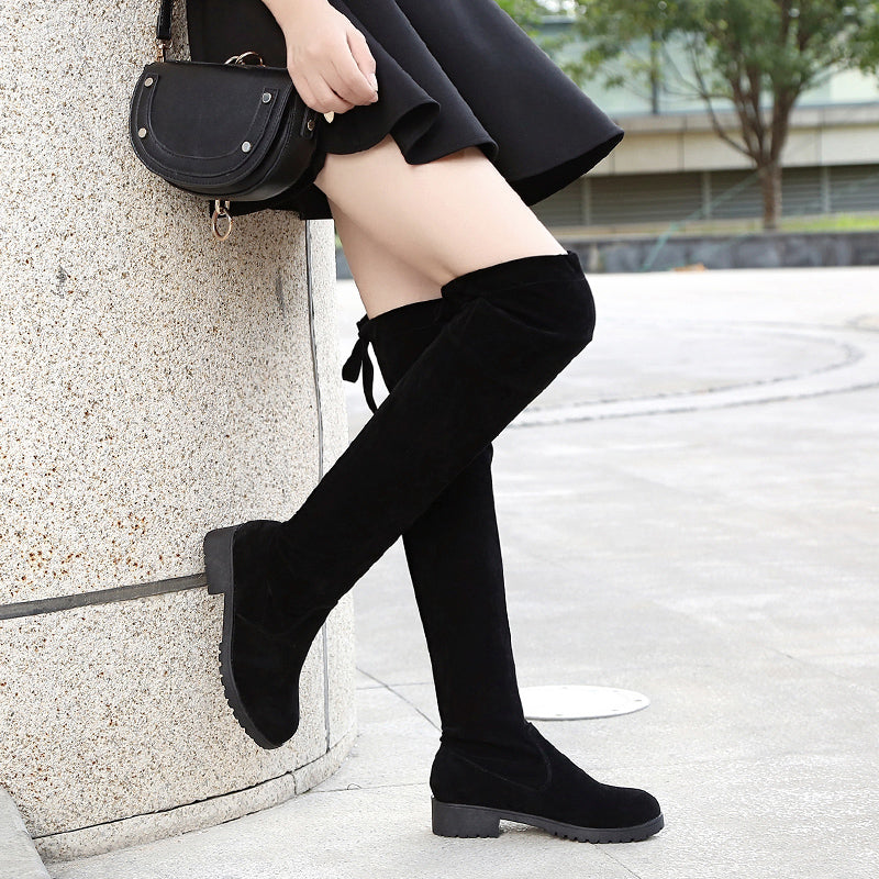 28cd4011d8269 Flat Bottom Over The Knee Thigh High Suede Long Black Boots – Bad ...