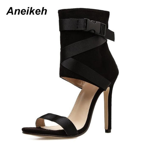 Women's Bad Ass High Heel Cross-Strap Open Toe Zipper Sandals