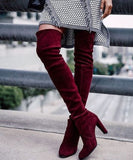 Wine Red Suede Elegant High Heel Thigh High Boots for Women