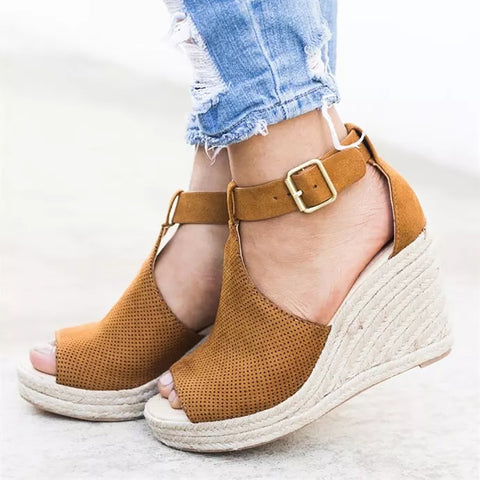 Ladies Summer Wedge Peep Toe Sandals