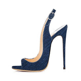 Super Cute Summer Slingback  Denim Peep Toe High Heel Sandals