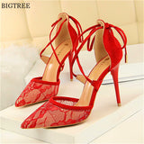 Sheer and Sexy Floral Lace Pointed Toe Women's Cross-tied High Heel Sandals