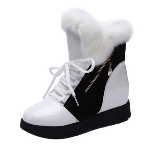 Shoes Women Soft Snow Boots Round Toe Flat Winter Fur Ankle Boots Shoes