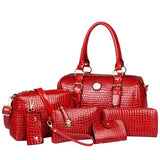 6 Piece Crocodile Pattern Leather  Handbag Set