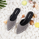 Women Fashion Suede Rivets Flat Shoes Pointed Toe Slipper Sandals