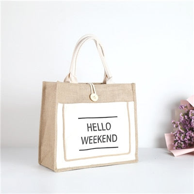 Hello Weekend High Quality Women's Linen Luxury Tote Large Capacity