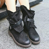 Hot and Trending Now Women's Faux Leather Wrap Buckle Ankle Boots Flat Boots