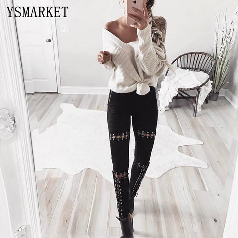 Women Suede Leather Sexy Lace Up  Bandage Pencil Pants