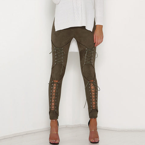 Sexy Lace up Suede Pants High Waist Hollow Cutout Crisscross Leggings Pencil Streetwear