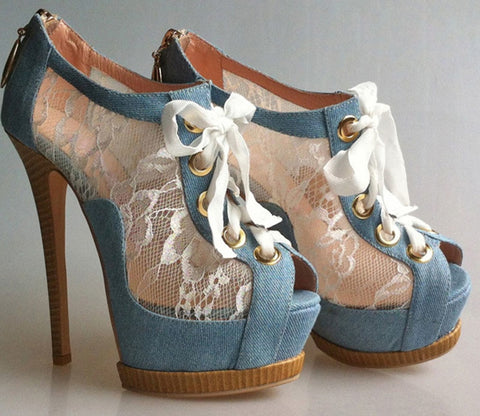 New Washable Denim Cloth Floral Lace Peep Toe Platform Stiletto Lace Up Ankle  Boots