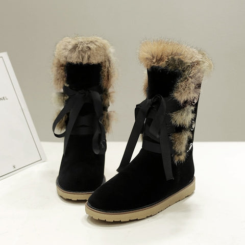 Rabbit Fur Mid Calf Flat Women's Snow Boots