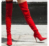 Ready to Rock Red Stretch Stiletto Thigh High Boots