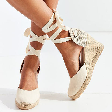 Women's Espadrille Ankle Strap Sandals in Off White, Red, and Black