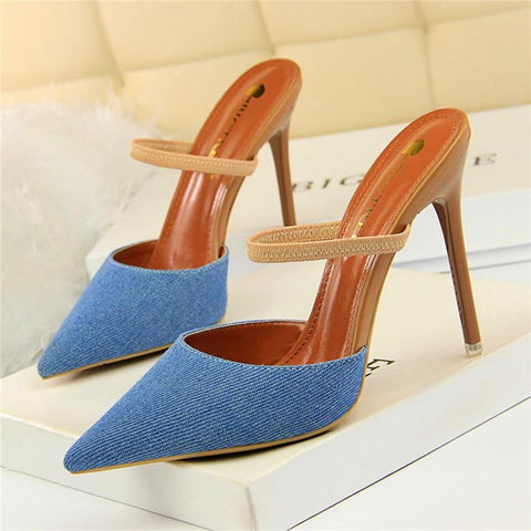 Hot Elastic Band Thin Heel Casual Women's Sexy Pointed Toe Slip On High Heel Denim Mules