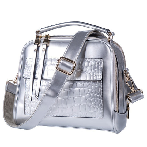 Stunning and Sleek Patent Leather Reptile Print Shopper Shoulder Satchel Handbag