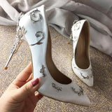 KALMALL Wedding Bridal Shoes Silk Eden Pumps Ornamental Filigree Leaves Spiralling Naturally Up Heels Evening Party Prom Shoes