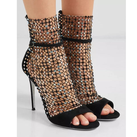 Crystal Caged Mesh Open-Toe Sexy High Heels