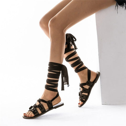 Women's White Wrap Knee High Gladiator Cross Tied Flat Summer Sandals