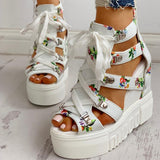 Hot Print Leisure High Heel Platform Summer Wedges for Women