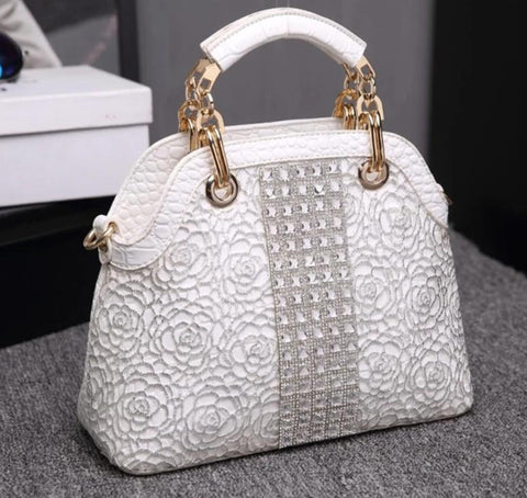 Luxury Lace Crocodile Pattern Diamond Accent Design Women's Handbag