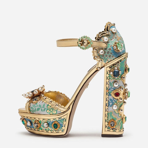 Game ON Barbie! Luxury Crystal Jewelled Pearl Chunky High Heel Sandals with Embroidery